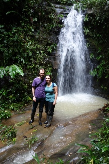 Volunteers enjoy a casual waterfall hike